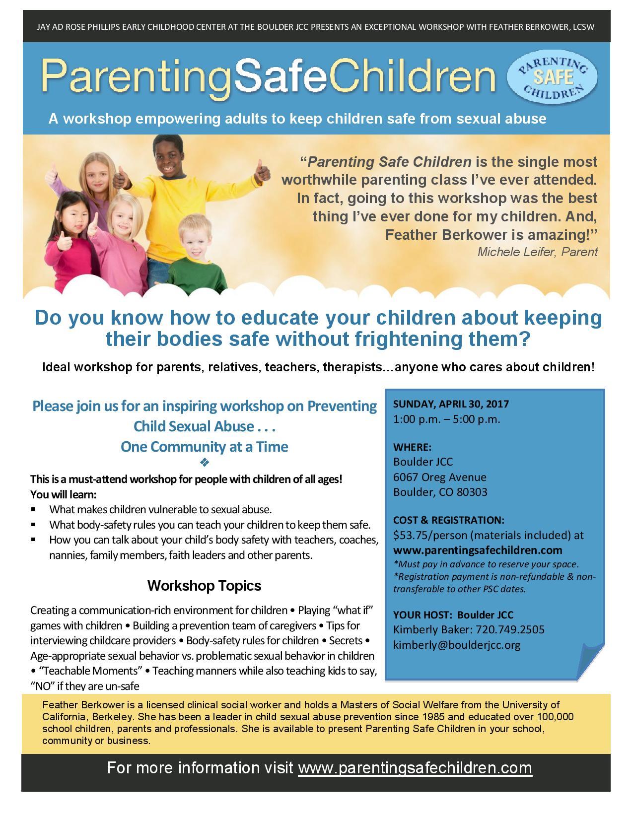 Parenting Safe Children Workshop - Boulder JCC   Jewish Community ...